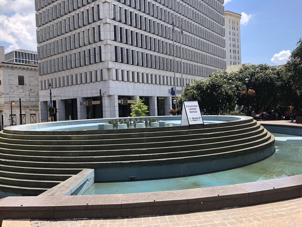 The fountain, once a cooling spot for tired runners is currently under repair.