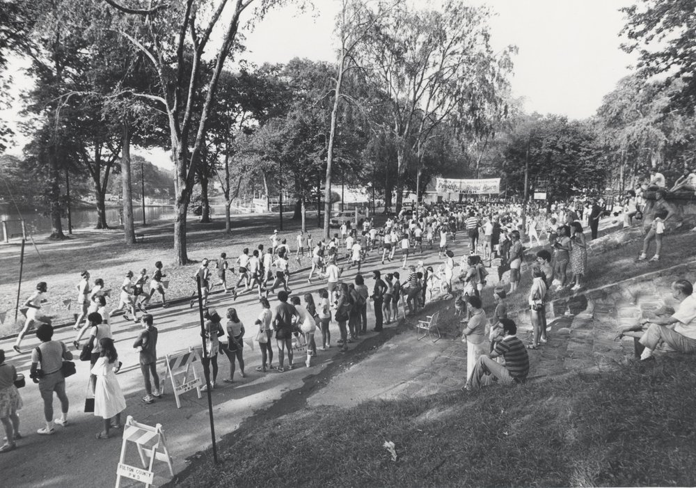 Runners finish inside Piedmont Park for the first time in 1978.