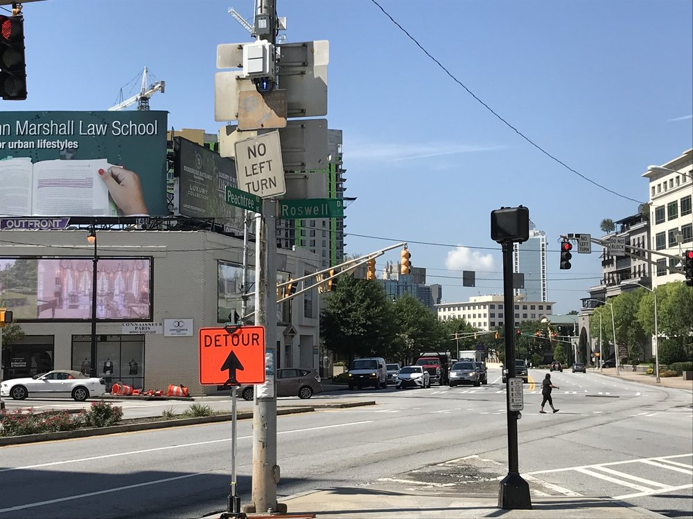 Peachtree and Roswell Roads, the original start line of the Peachtree