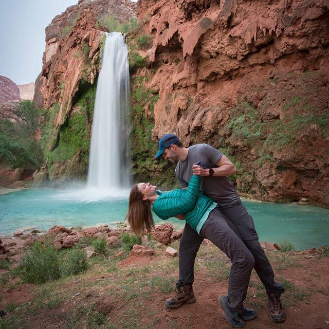 #tbt to a month ago, hanging out with this guy in paradise  #havasu #backpacking #azisforlovers #waterfallhikes #turquoise #womenwhohike #mtnchicks #optoutside #adventuremore #havasupai #backcountrybuddy