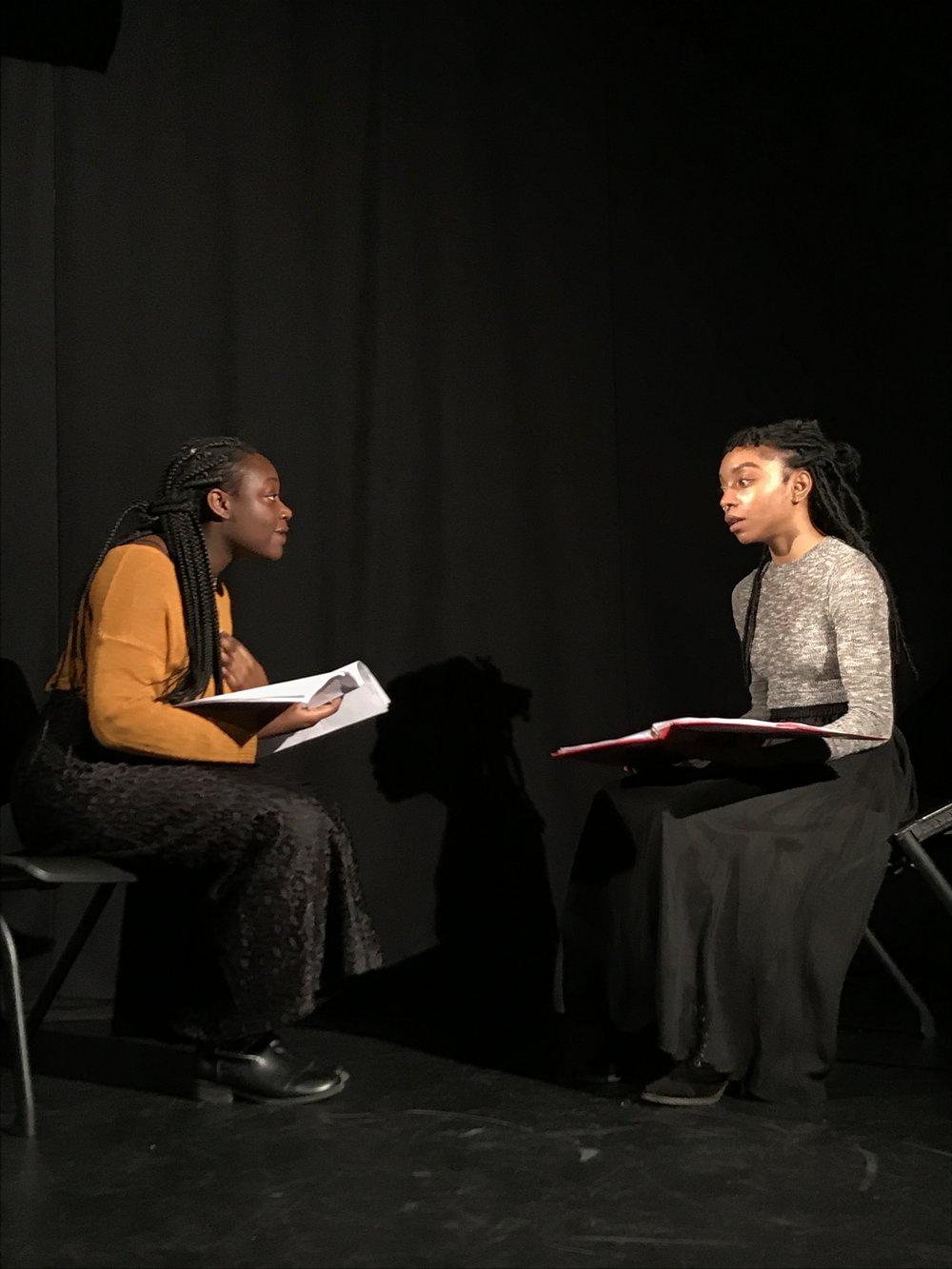 Jahmorei Snipes and Victoria Villier reading Deliverance at Marymount Manhattan College, January 2018.
