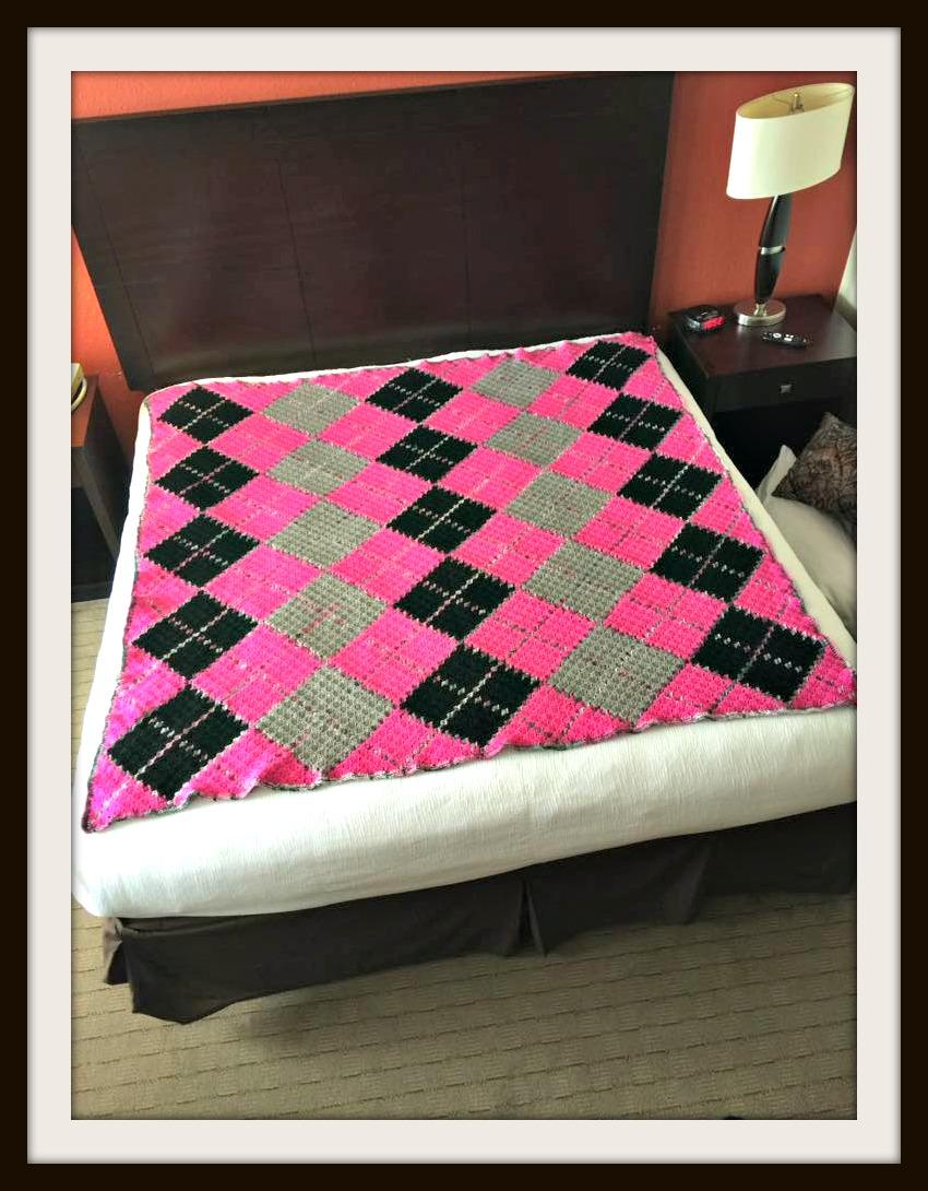Argyle Afghan 4 Color Queen Size C2c Crochet Pattern
