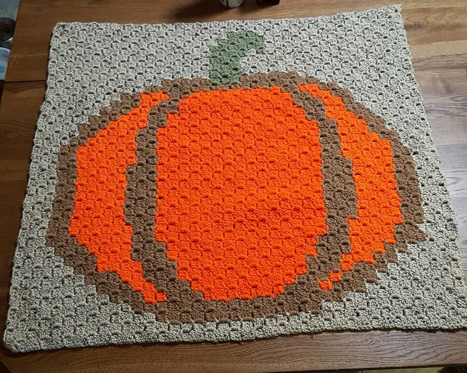 Pumpkin Small Lapghan C2c Crochet Pattern