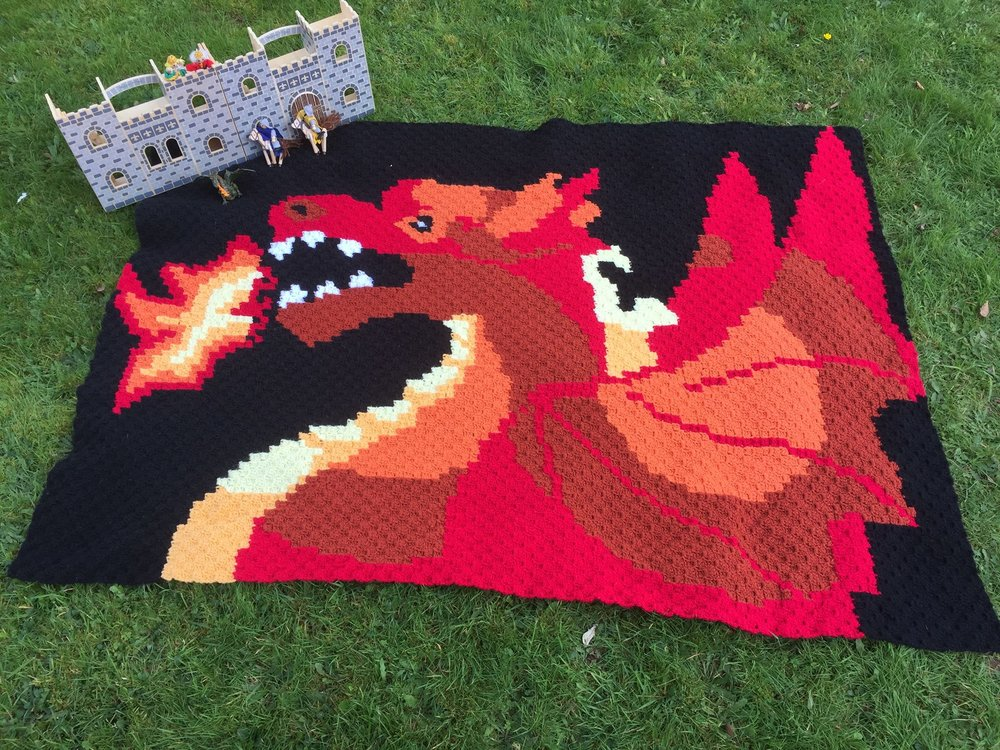 Dragon Afghan C2c Crochet Pattern