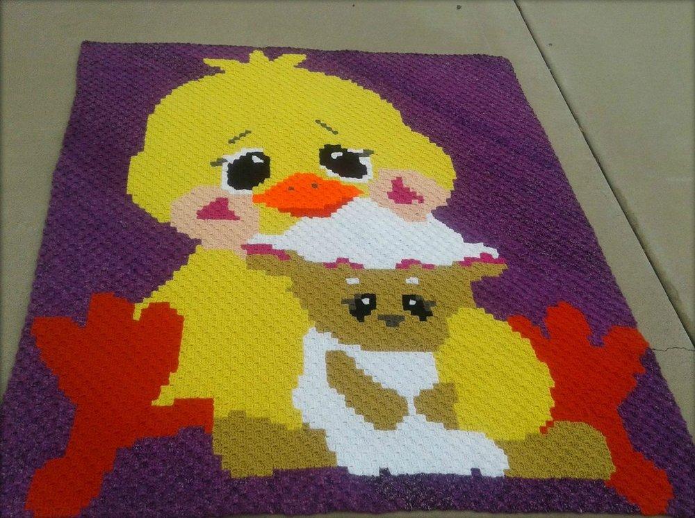 Duck And Lamb Kids Afghan C2c Crochet Pattern