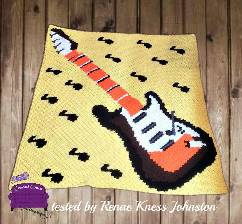 Guitar Notes Afghan C2c Crochet Pattern