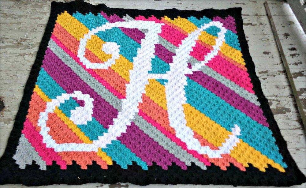 Letter H Kids Afghan C2c Crochet Pattern