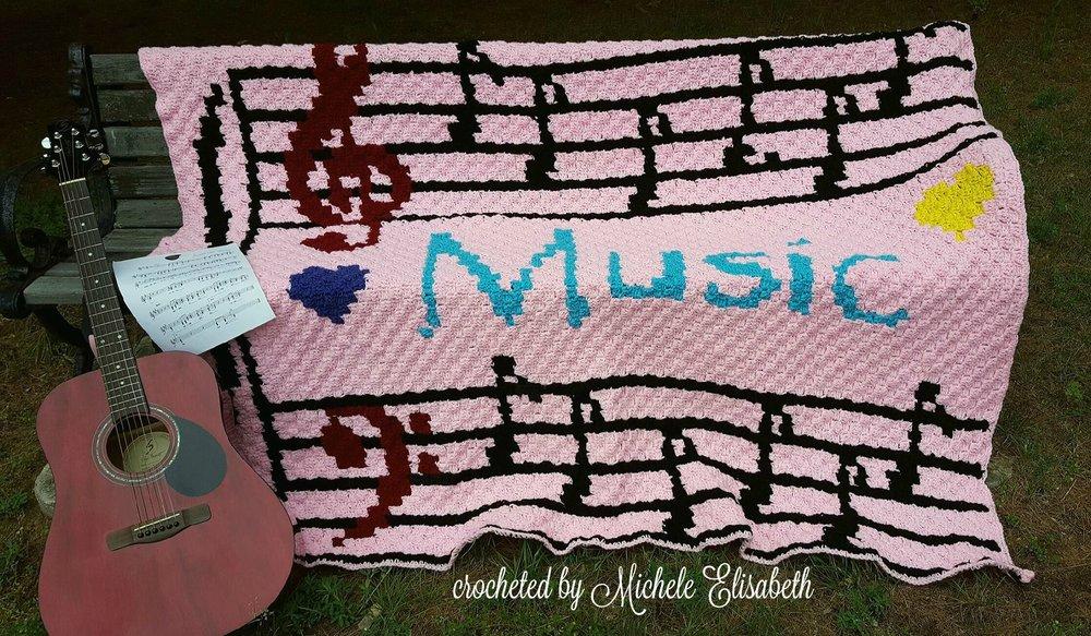 Musical Notes Afghan C2c Crochet Pattern