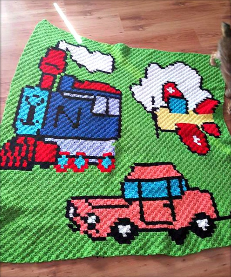 Planes, Trains and Automobiles Afghan, C2C Crochet Pattern