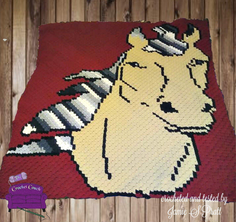 Horse Afghan 4 Color C2c Crochet Pattern