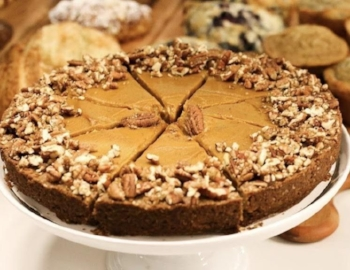 Vegan Pumpkin Spice Pie w/ Pecan Oat Maple Crust. (photo from Form and Function Coffee)