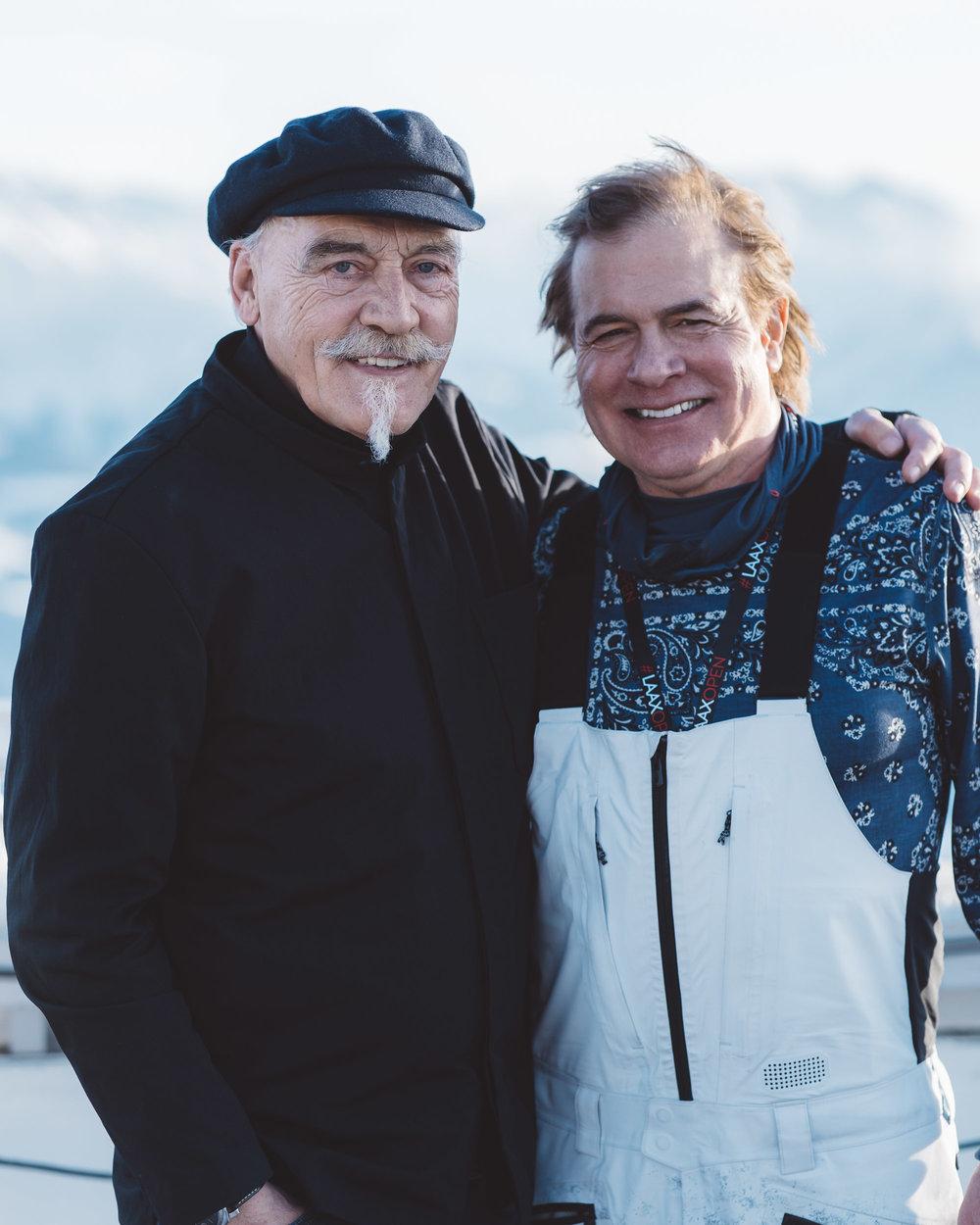 CEO of Laax Reto Gurtner with founder of Burton Snowboards Jake Burton