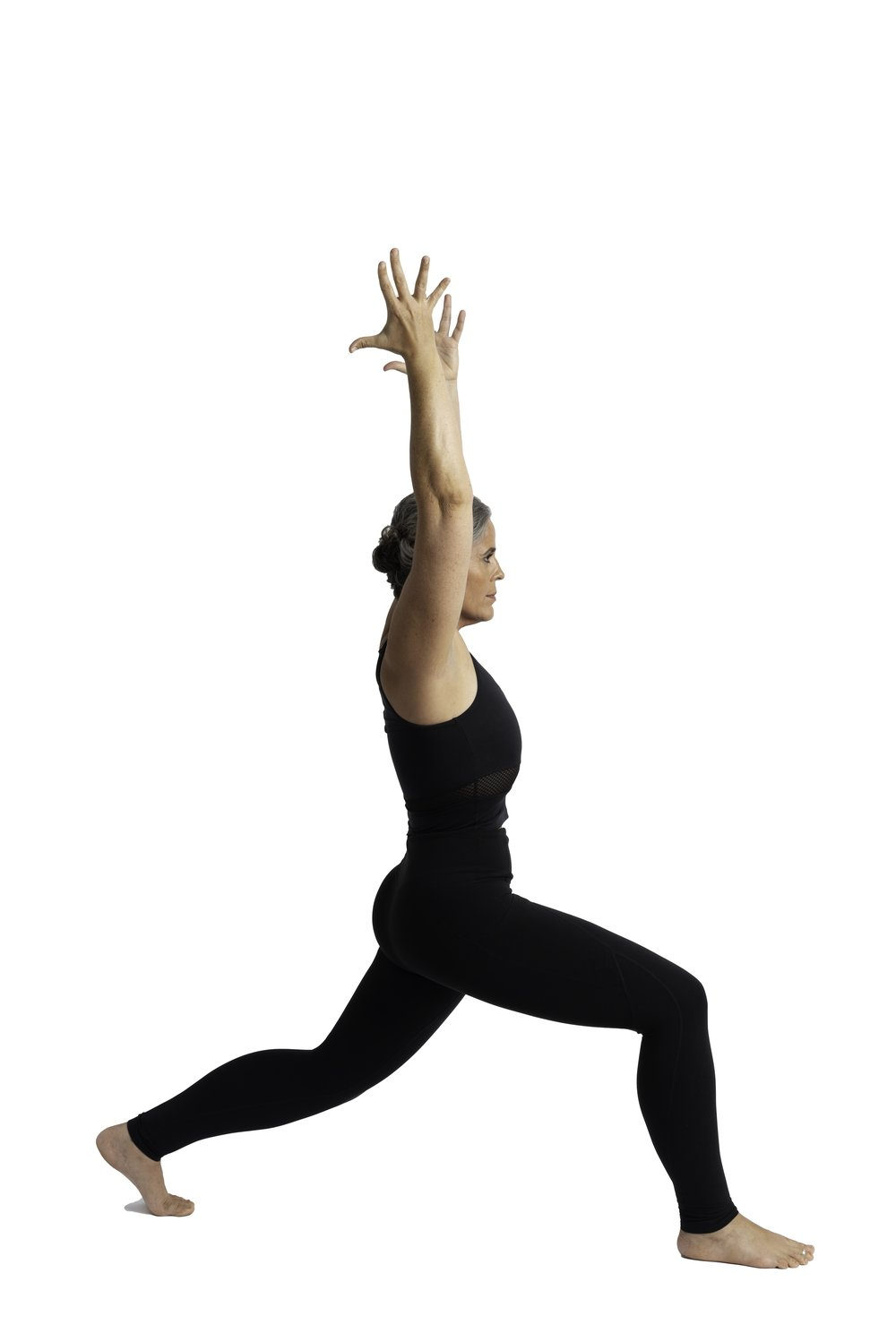 Crescent Lunge with lifted back heel, back knee bent and posteriorly tilted ,symmetrical pelvis