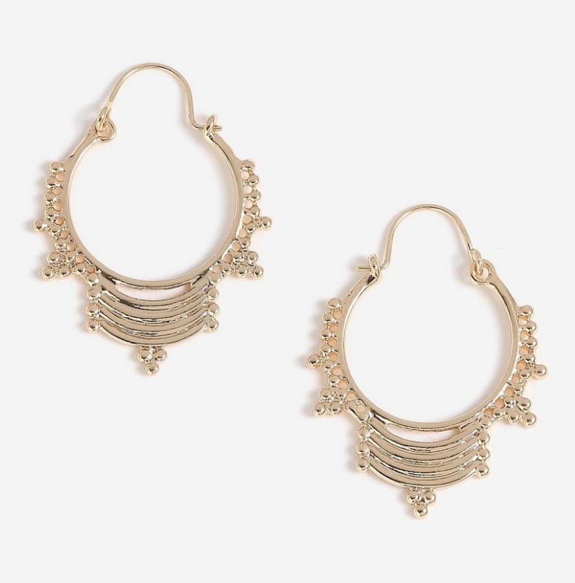 4. Unusual Gold Hoops - These funky gold hoops will make any look more boho chic. Dress them up or down, these go with everything and anything.