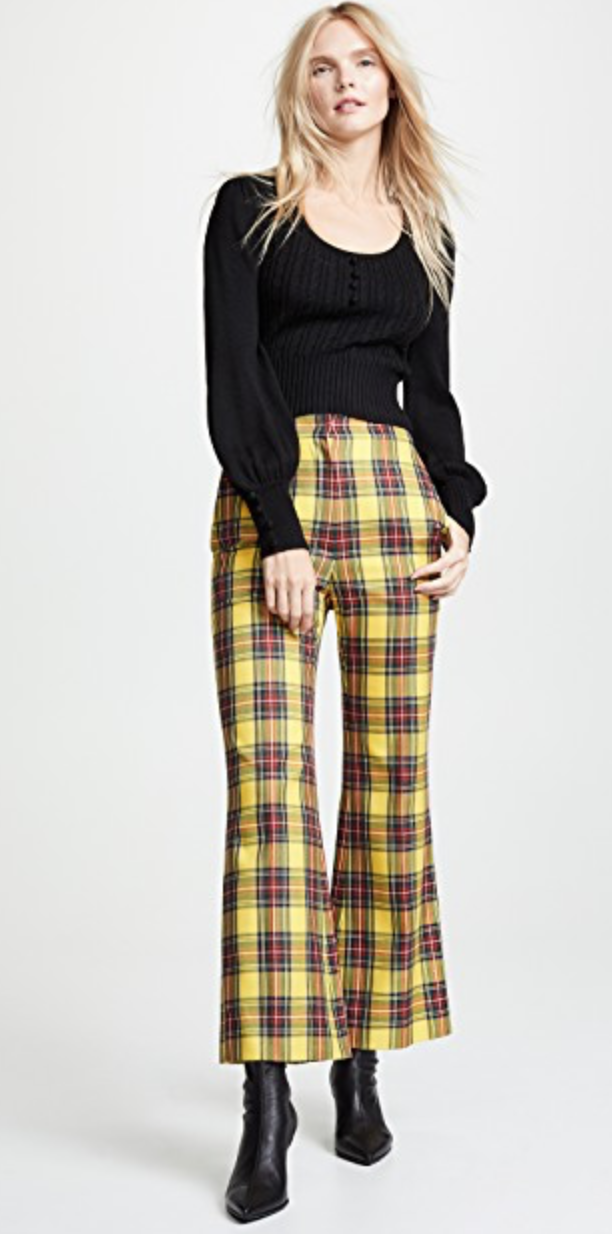 pushBUTTON - Plaid Crop Flare Pants, $490
