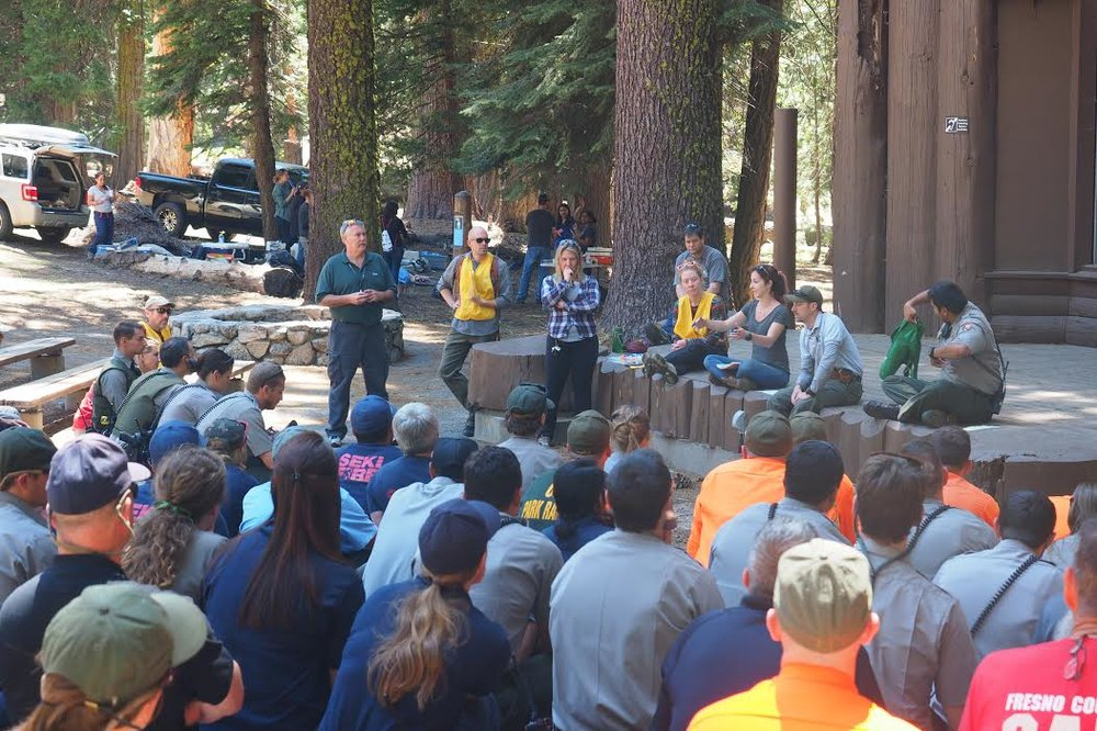 Me leading the debrief session after last year's MCI drill in Sequoia National Park.