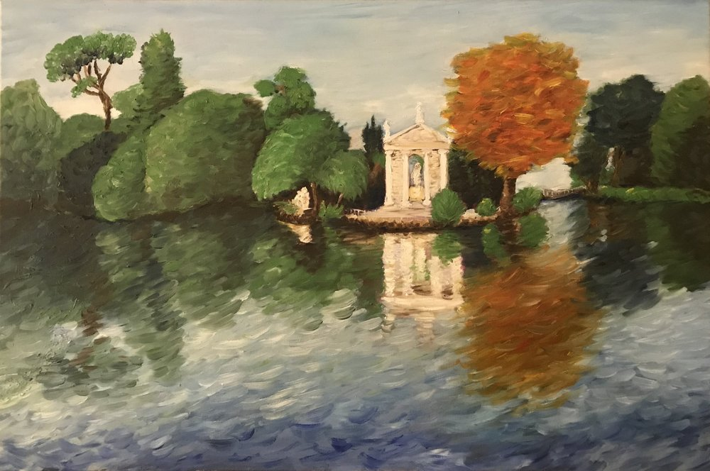 Park in Rome, oil on canvas