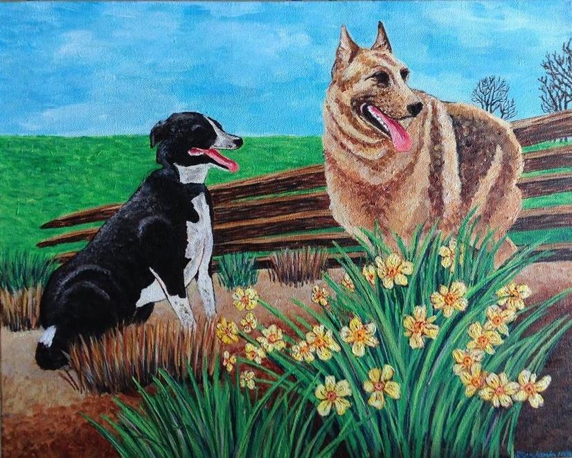Dogs, acrylic on canvas