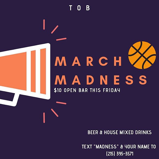 Last weekend we took an L, but this weekend we B🏀UNCE BACK with a $10 open bar this Friday and all march madness games! Text 'MADNESS' to 215-395-3571 to get on the list! • • • #openbarphilly #openbarcentercity #centercity #centercityphilly #centercitylitty #marchmadness #ballin