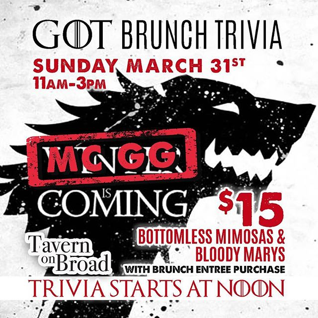 This time next week, we'll be hosting #gameofthrones #trivia #brunch with our (soon to be famous) $15 bottomless mimosas & bloody Mary's from 11 am - 3 pm! Hosted by our (also soon to be famous) MC GG!! If you haven't been to a boozy trivia brunch, you're in for a surprise! Reservations a must! Click the link in bio