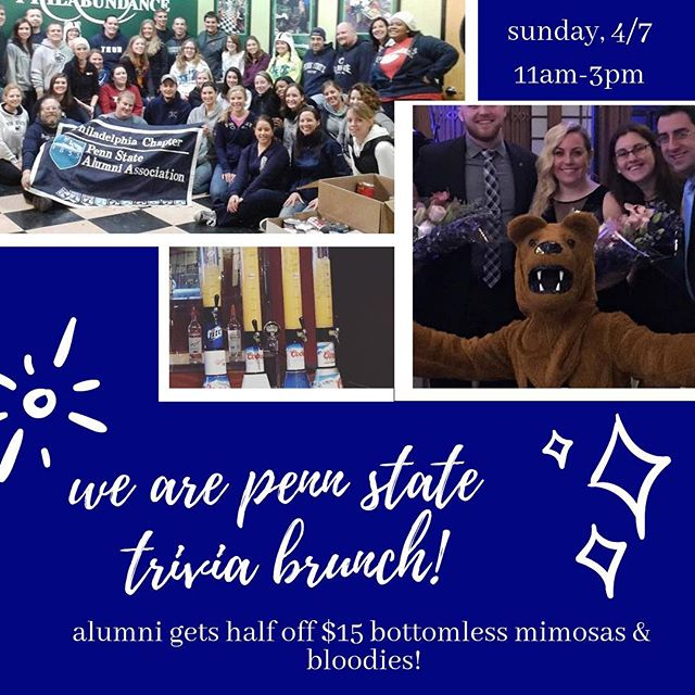 Were happy to be hosting the #philly chapter of the #psu alumni this Sunday for a trivia brunch! They're so excited for current alumni chapter to join that your entry will get you half off of the $15 bottomless mimosas and bloody Mary's package for those guests that join! For details about the event, click the link in bio ! #weare #wearepennstate