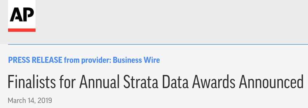 Strata Data Awards Finalist - Most Disruptive Startup