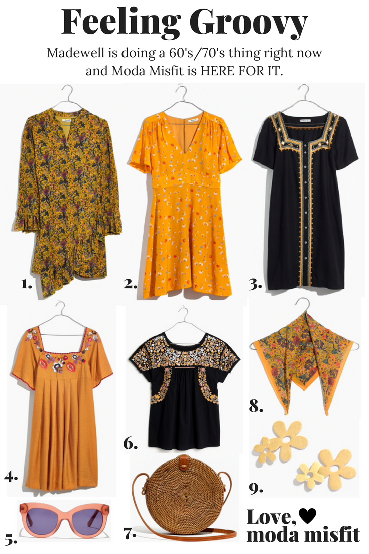 1.   Madewell x Karen Walker® Silk Floral Loretta Dress  //  2.   Silk Belladonna Dress in Painted Carnations  //  3.   Mirror-Embroidered Dress  //  4.   Embroidered Square-Neck Mini Dress  //  5.   Pacific Cat-Eye Sunglasses  // 6.   Embroidered Springtime Top in True Black  //  7.   Folk Fortune Bali Rattan Round Bag  //  8.   Madewell x Karen Walker® Floral Bandana  //  9.   Daisy Statement Earrings   Side note: How right was I when  I said orange was THE color for this Fall ? I swear I didn't specifically seek out orange for this graphic! Orange is just unavoidable right now. And I'm loving it.
