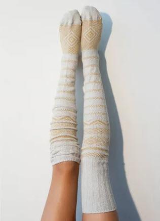 Peony and Moss Thigh-High Socks @ Etsy