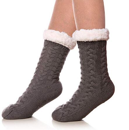 SDBING Cozy Fuzzy Fleece-lined Slipper Socks @ Amazon