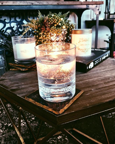 Candles make everything more magical. Including vodka soda.