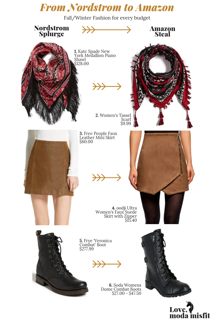 1.    Kate Spade New York Medallion Piano Shawl    // 2.    Women's Tassel Scarf    // 3.    Free People Faux Leather Mini Skirt    // 4.    oodji Ultra Women's Faux Suede Skirt with Zipper    // 5.    Frye 'Veronica Combat' Boot    // 6.    Soda Women's Dome Combat Boots