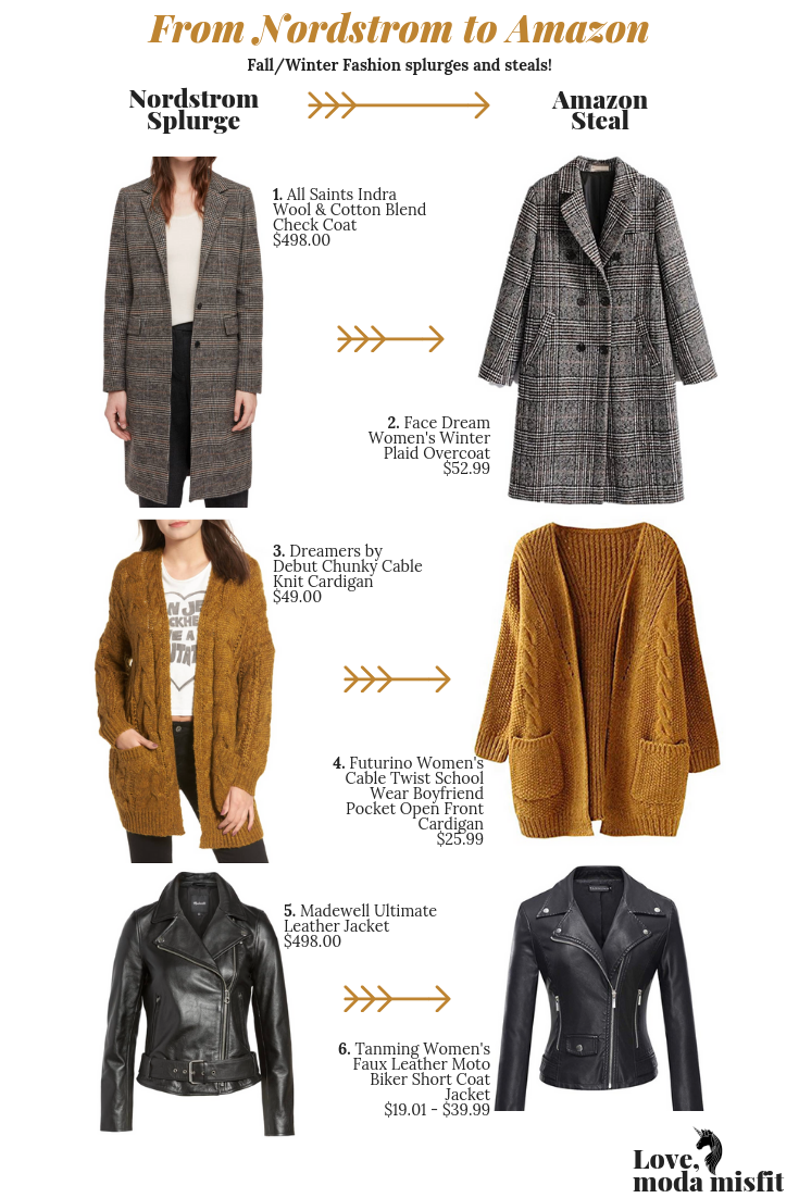 1.    All Saints Indra Wool & Cotton Blend Check Coat    // 2.    Face Dream Women's Winter Plaid Overcoat    // 3.    Dreamers by Debut Chunky Cable Knit Cardigan    // 4.    Futurino Women's Cable Twist School Wear Boyfriend Pocket Open Front Cardican    // 5.    Madewell Ultimate Leather Jacket    // 6.    Tanming Women's Faux Leather Moto Biker Short Coat Jacket