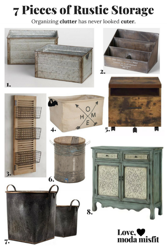 1.    Galvanized Metal Walter Storage Bins @ World Market    // 2.    Embossed Metal St. Laurent Desk Organizer @ World Market    // 3.    Westview 3-Basket Over-the-Door Organizer @ Pier1    // 4.    Extra-Large Storage Basket @ Amazon    // 5.    Weathered Oak Bob File Cabinet @ Pier1    // 6.    Metal Gray Drum Accent Table @ Target    // 7.    Galvanized Metal Baskets With Detail @ Ta    rget    // 8.    Powell Hannah Console @ Overstock