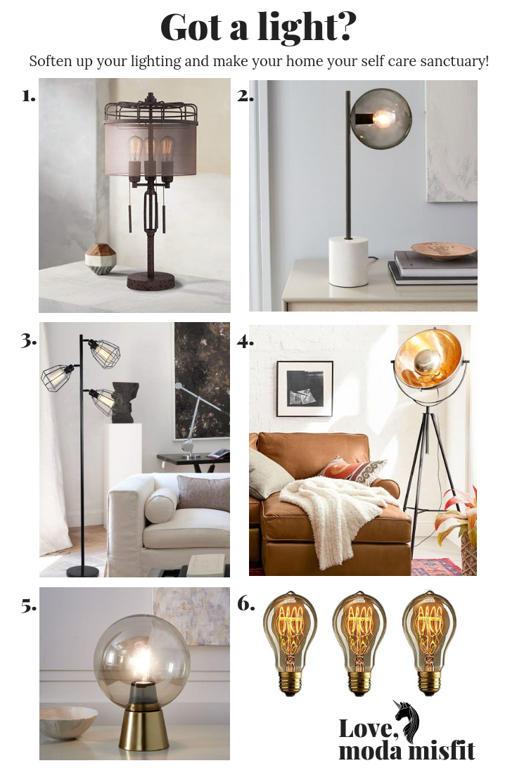 1.    Franklin Iron Works Lock Arbor Industrial Cage Metal Table Lamp @ Amazon    // 2.    West Elm Sphere + Stem Table Lamp    // 3.    LEONLITE 65inch Track Tree Floor Lamp @ Amazon    // 4.    Pottery Barn Baldwyn Floor Lamp    // 5.    West Elm Nova Table Lamp    // 6.    FadimiKoo Vintage Bulb @ Amazon