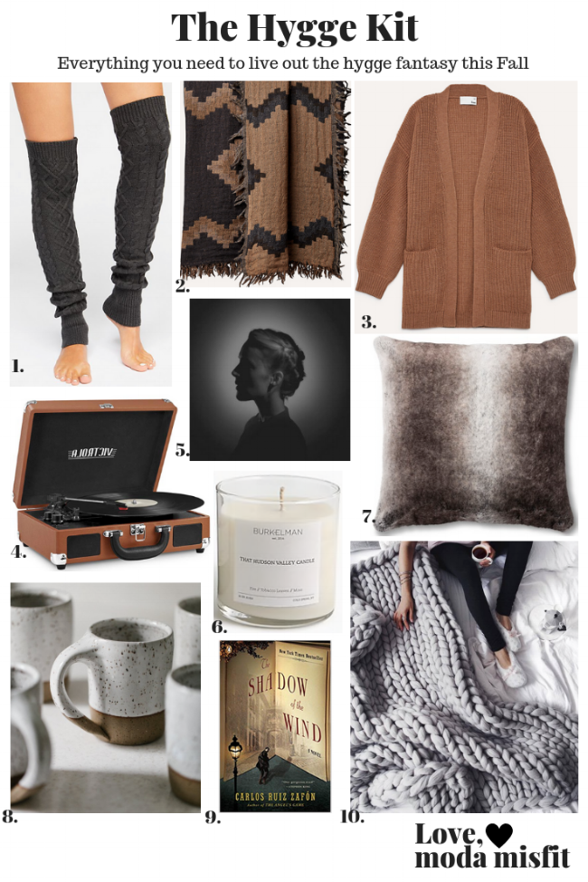 1.    Free People At Your Side Cable Legwarmer    // 2.    Aritzia Diamond Mosaic Blanket    // 3.    Wilfred Free Rourke Sweater @ Aritzia    // 4.    Victrola Vintage 3-Speed Bluetooth Suitcase Turntable with Speakers @ Amazon    // 5.    Aventine (Deluxe) by Agnes Obel    // 6.   Burkelman That Hudson Valley Candle @ J Crew    // 7.    Fieldcrest Neutral Faux Fur Euro Pillow @ Target    // 8.    Joe Sink Pottery Coffee Mug - White Speckled @ Etsy    // 9.    The Shadow of the Wind by Carolos Ruiz Zafón    // 10.    Merino Wool Chunky Knit Blanket @ Etsy