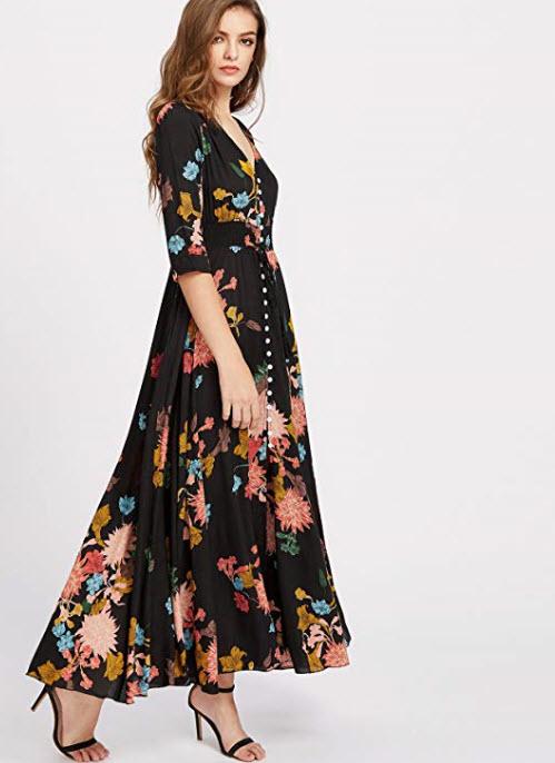 Amazon - Milumia Women's Button up Split Floral Print Flowy Party Maxi Dress