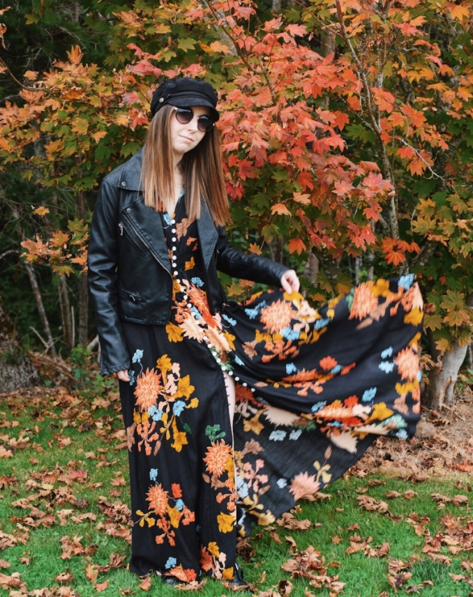 floral maxi dress with leather jacket in fall.jpg