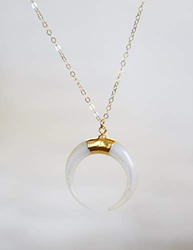 Mother of Pearl Crescent Moon Gold Filled Necklace.png