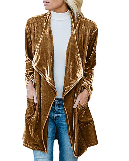 Drape Velvet Jacket Open Front Cardigan Coat with Pockets.jpg