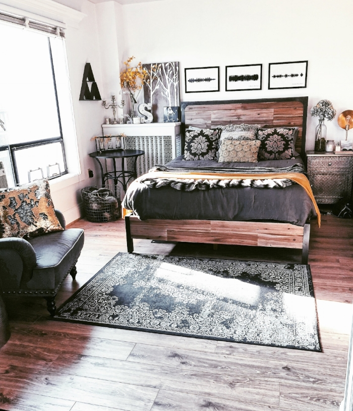 rustic bedroom decor with gold accents.JPG