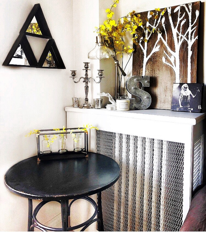 rustic shelf with pops of gold.JPG