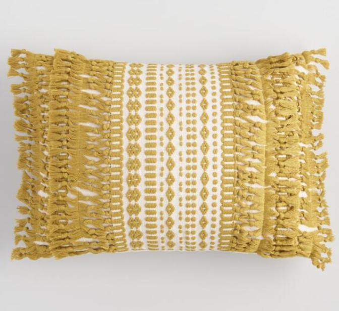 World Market Chartreuse Green Geo Fringe Indoor Outdoor Lumbar Pillow