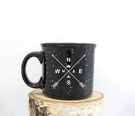 Coffee Mug - Arrow Compass - Speckled Color Mug - Campfire Collection - Screen Printed Mug