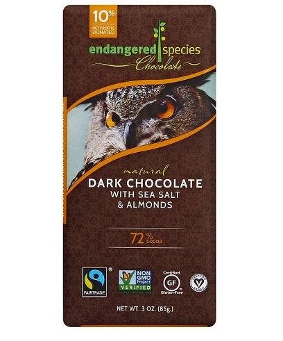 Endangered Species Chocolate Dark Chocolate with Sea Salt & Almonds