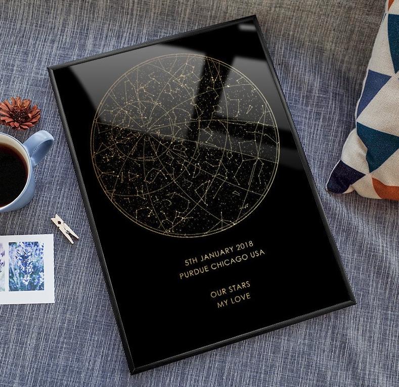 Real gold foil custom night sky print framed star map digital personalised poster.png