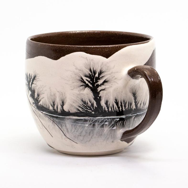 Homemade large ceramic mug, large pottery mug with winter motives, coffee mug, tea mug handmade built by %22mochavare%22 technique.png