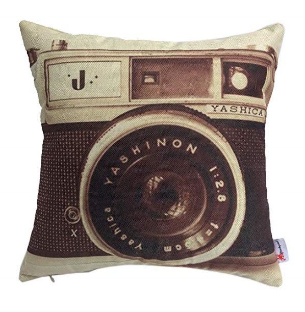 Monkeysell Pillow Cover Retro Camera Patterns Cotton Linen Decorative Throw Pillow