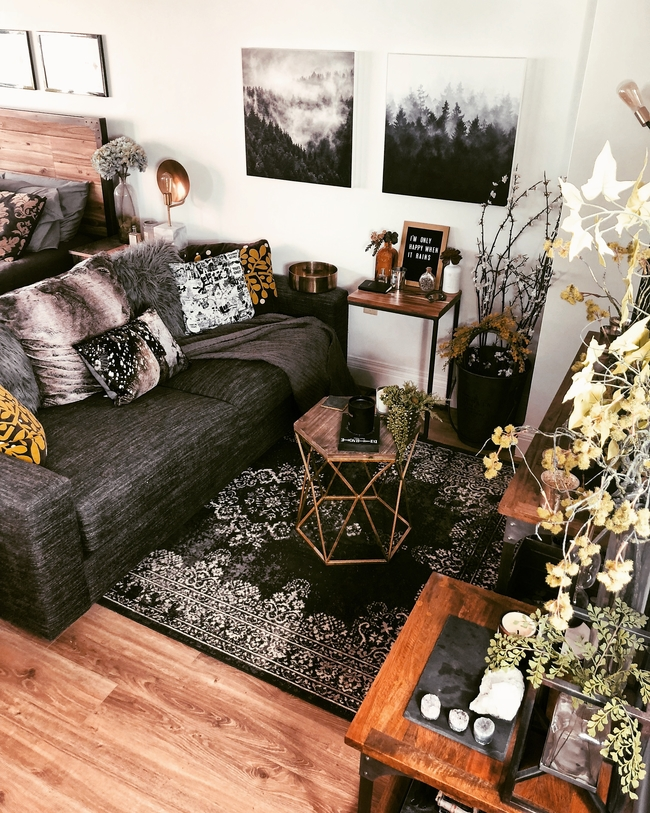 Rustic living room decor on a budget in studio apartment styling.