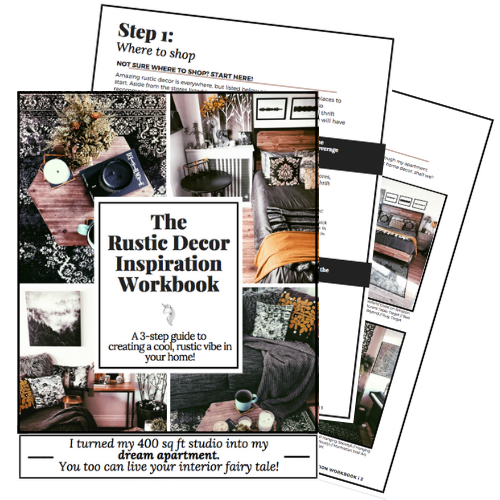 The Rustic Decor Inspiration Workbook is a 3-step guide to starting your rustic home decor styling.