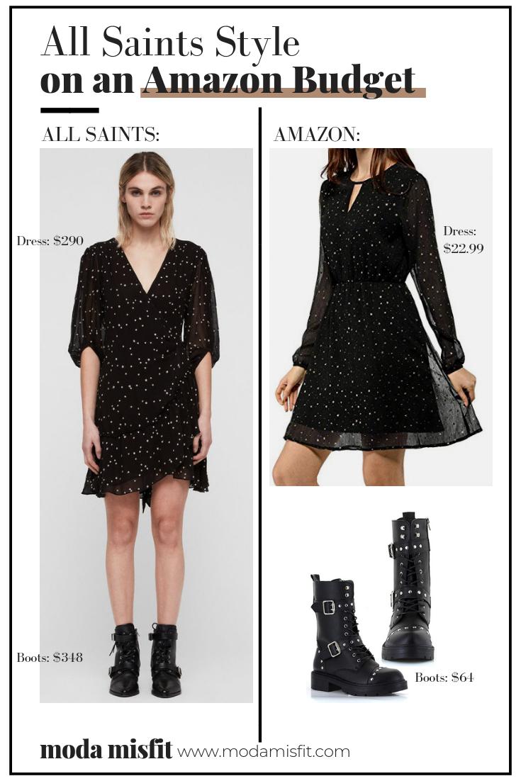 All Saints dress  (now sold out) //  All Saints boots    Amazon dress  //  Amazon boots